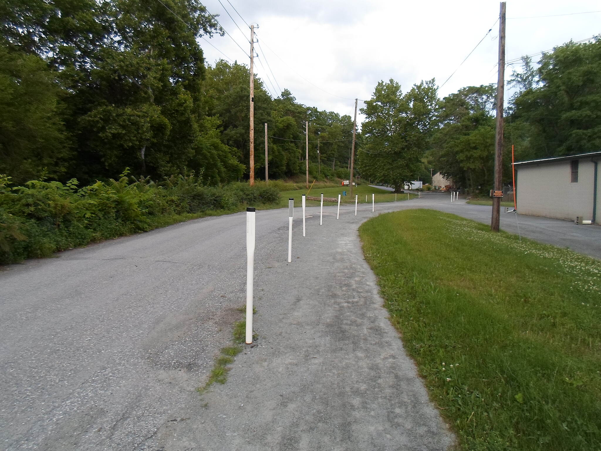 Northwest Lancaster County River Trail Northwest River Trail Reflector-topped posts separate the 'trail' segment of Furnace Road from the official road southeast of Marietta. Taken June 2015.