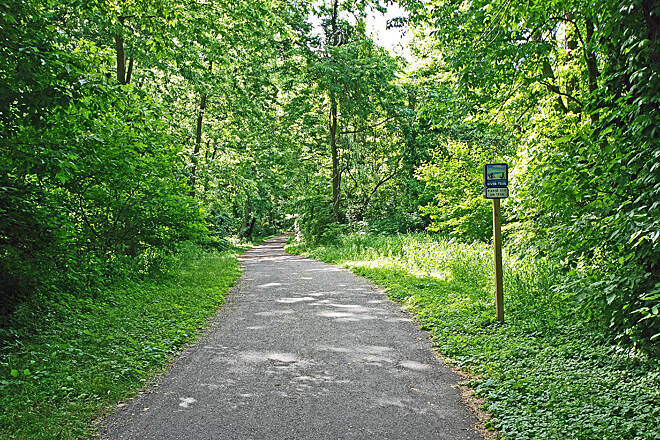 Northwest Lancaster County River Trail Lush green forest The path is currently lush and green throughout.