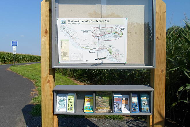 Northwest Lancaster County River Trail Northwest River Trail (Charles Greenway) New kiosk at the trailhead off Vinegar Ferry Road near Riverfront Park features a map of both the completed and proposed sections of the trail, as well as local environmental and nature-related literature.