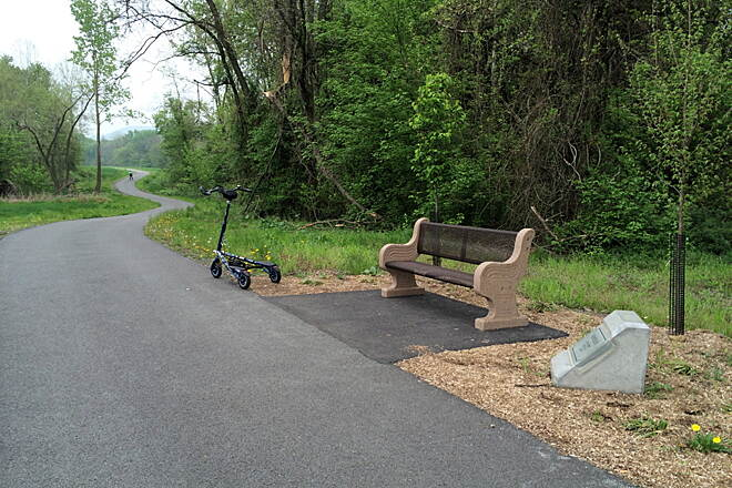Northwest Lancaster County River Trail Rest Stop! This is one of several benches along the trail that offer a nice place to take a rest or just sit and 'people watch'.