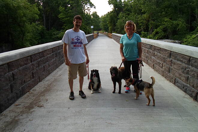 Northwest Lancaster County River Trail Northwest River Trail This couple was enjoying an early summer stroll with their dogs on the new bridge over Chiques Creek. Taken June 2014.