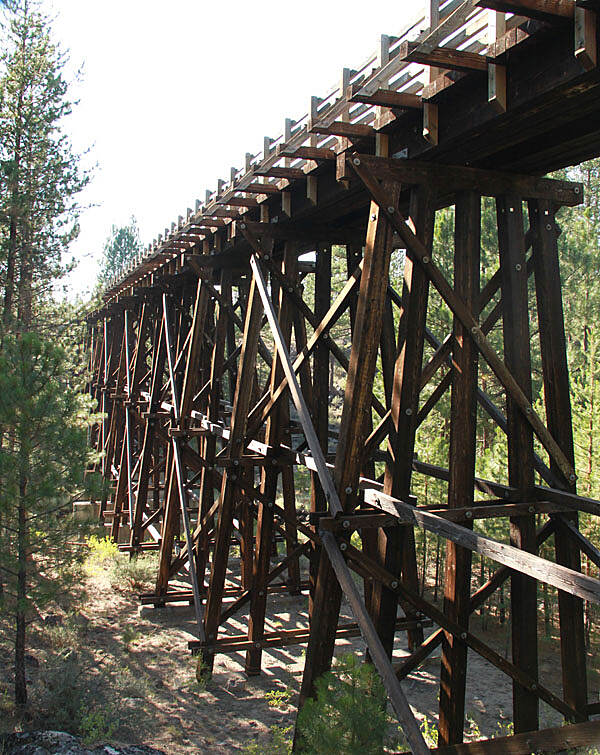 OC&E Woods Line State Trail Merritt Creek Trestle The spectacular Merritt Creek Trestle is 400 feet long and 50 feet high.