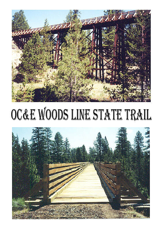 OC&E Woods Line State Trail Merritt Creek Trestle Head on and side view of Merritt Creek Trestle on the Woods Line Branch of the Trail