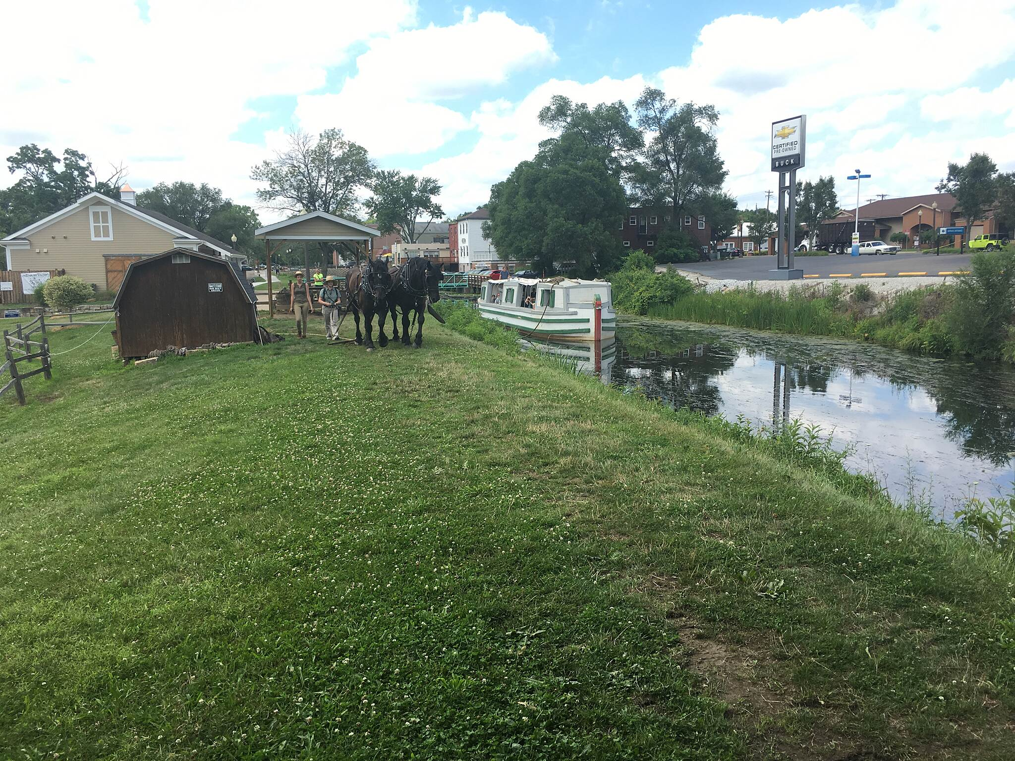 Ohio & Erie Canal Towpath Trail Old Canal Boat In Canal Fulton, they have historic boat rides, pulled by horses, on a section of the O&E Canal