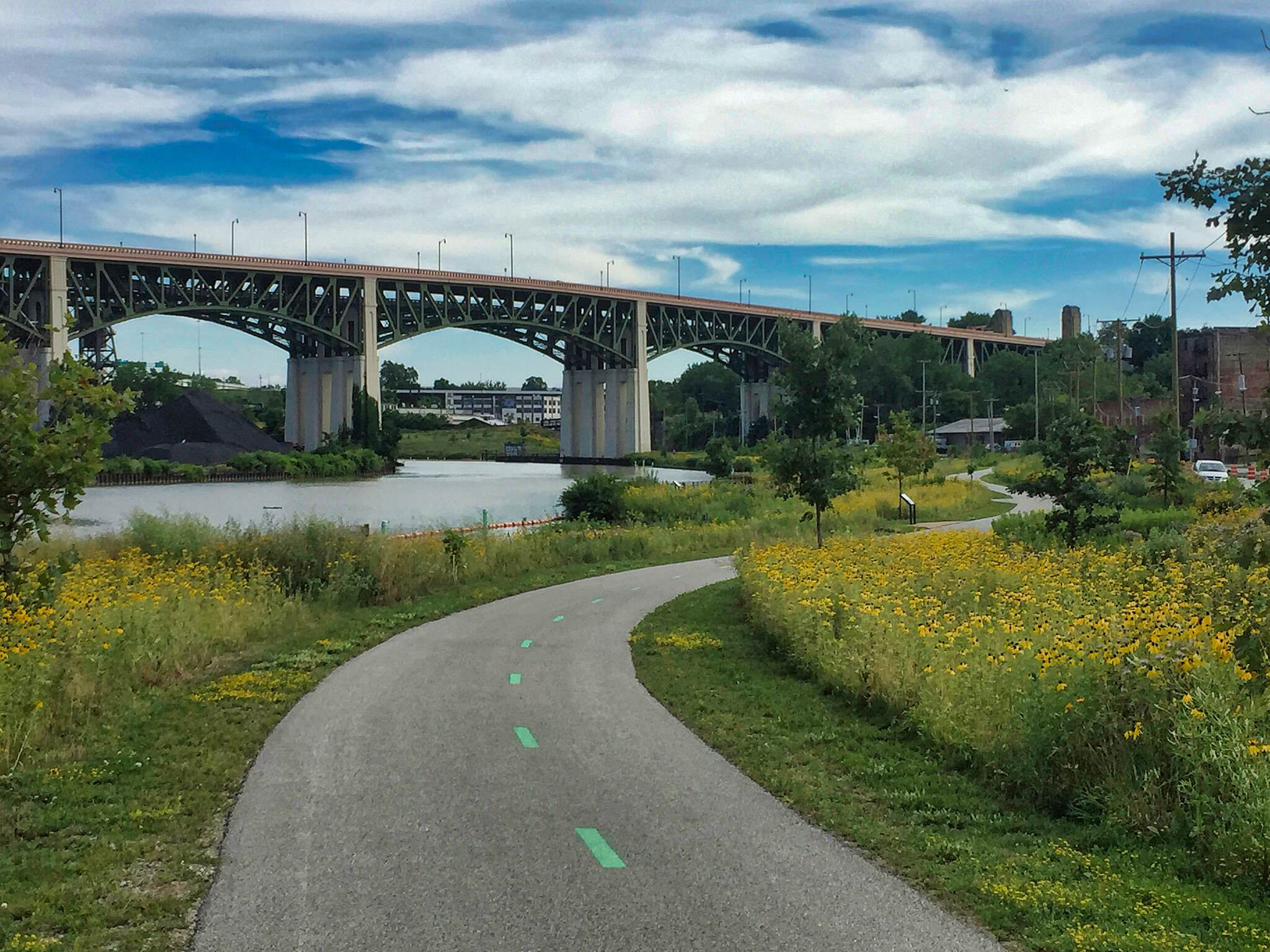 Ohio & Erie Canal Towpath Trail Hope Memorial Bridge A view of the Hope Memorial Bridge as seen from the Scranton Flats Section of Ohio and Erie Canal Towpath Trail.  July 25, 2017.