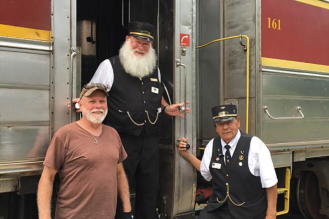 Ohio & Erie Canal Towpath Trail POSING WITH 2 VOLUNTEER CONDUCTORS ALSO HOST POLAR EXPRESS  FRIENDLY