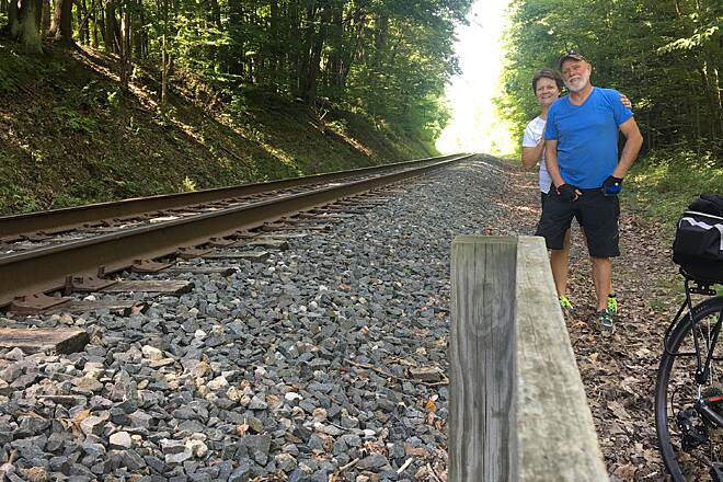 Ohio & Erie Canal Towpath Trail RAIL SIDE PHOTO WHAT A LOVELY DAY FOR A TRAIL RIDE WITH YOU
