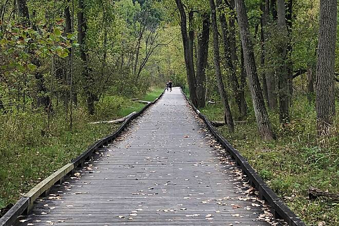 Ohio & Erie Canal Towpath Trail Trail Boardwalk This boardwalk lifts the trail up over an area that is too often to wet for a typical trail surface due to flooding or continuing wet conditions between Boston and Peninsula, Ohio.  Sept. 2019.