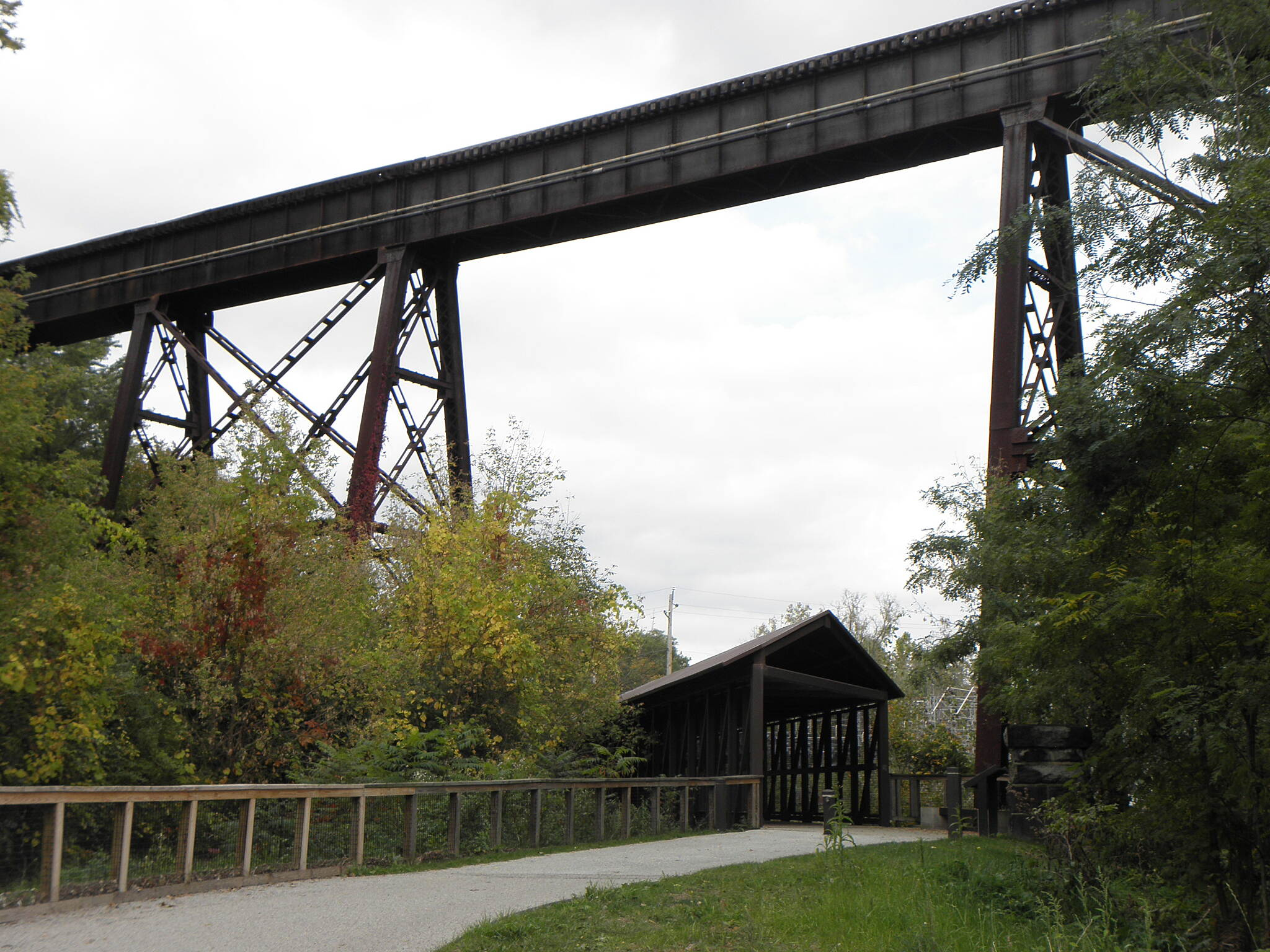 Ohio & Erie Canal Towpath Trail Trail goes under Akron, Canton & Youngstown Railroad Roof over the trail protects trail users from falling debris from trains passing overhead.