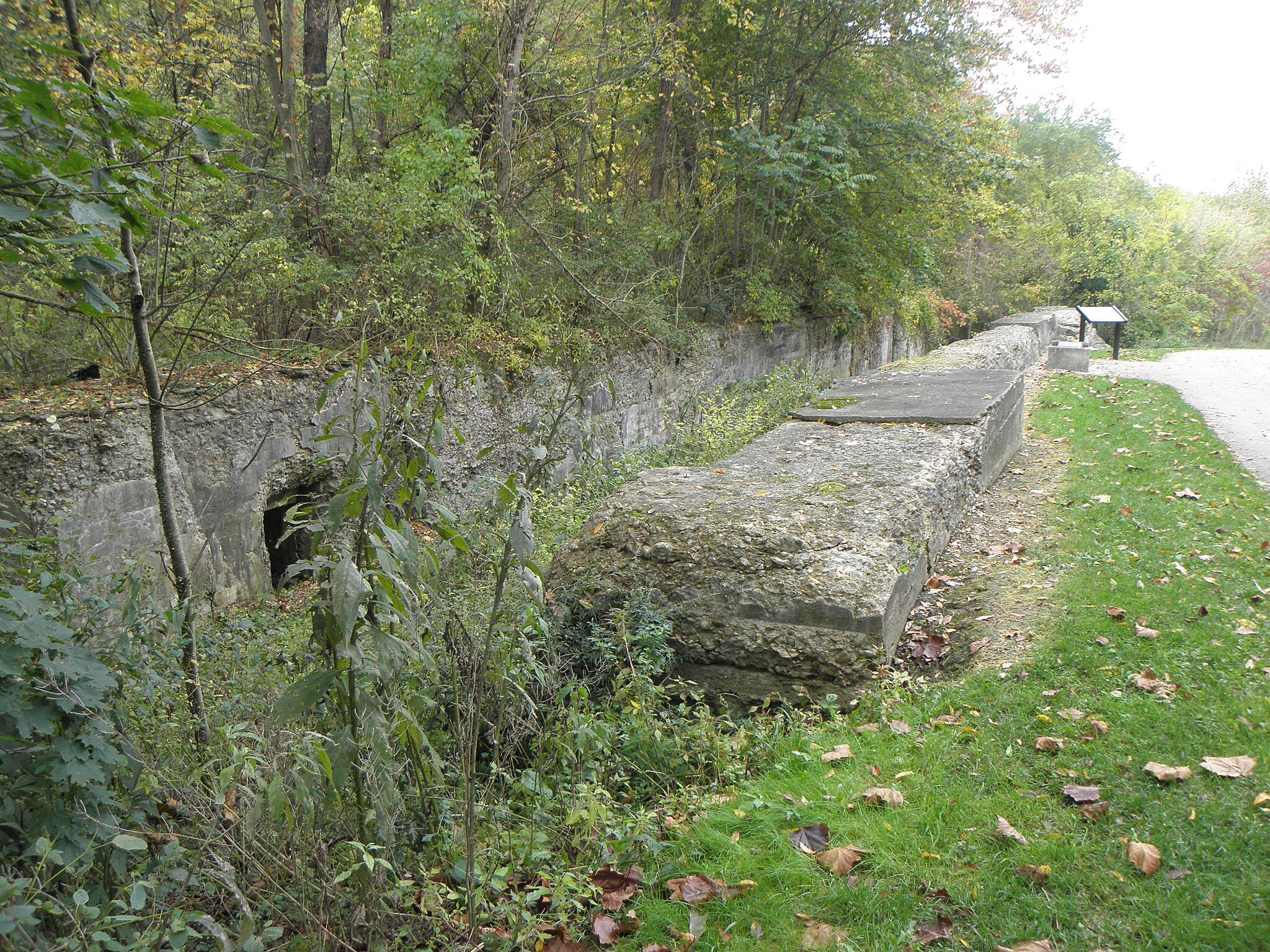 Ohio & Erie Canal Towpath Trail Old canal lock next to trail