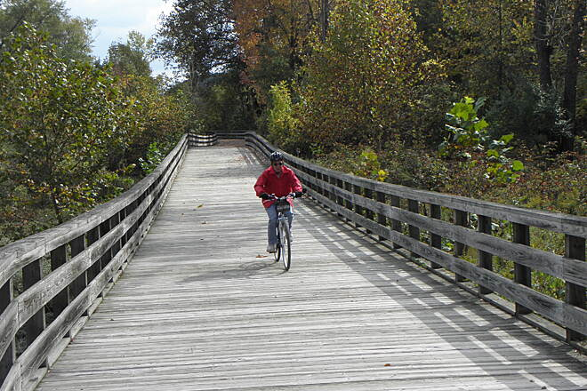 Ohio & Erie Canal Towpath Trail Long, wide wooden bridge over wetland