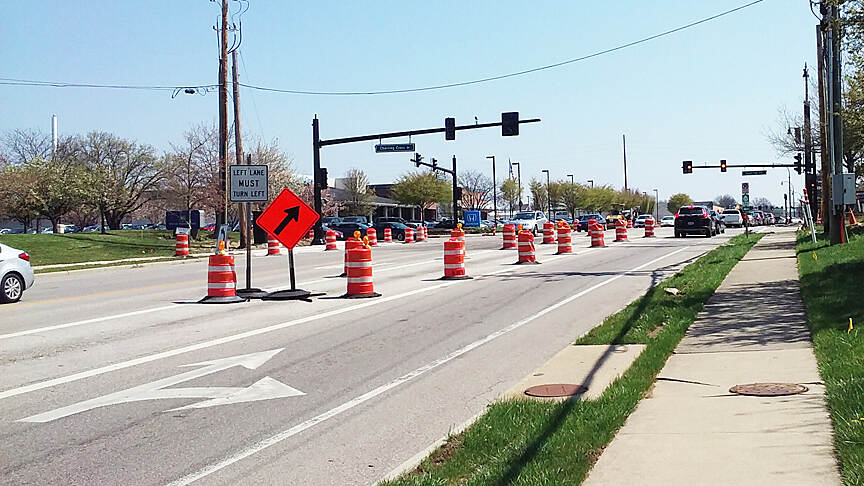 Ohio to Erie Trail Eastbound Apr 2017 Westerville, W Schrock Rd and Charring Cross Dr/Brooksedge Blvd, on most days the four-lane Schrock Rd is very busy in both directions, the Towers Trail through Westerville begins on the North side of the intersection and travels behind Roush Honda