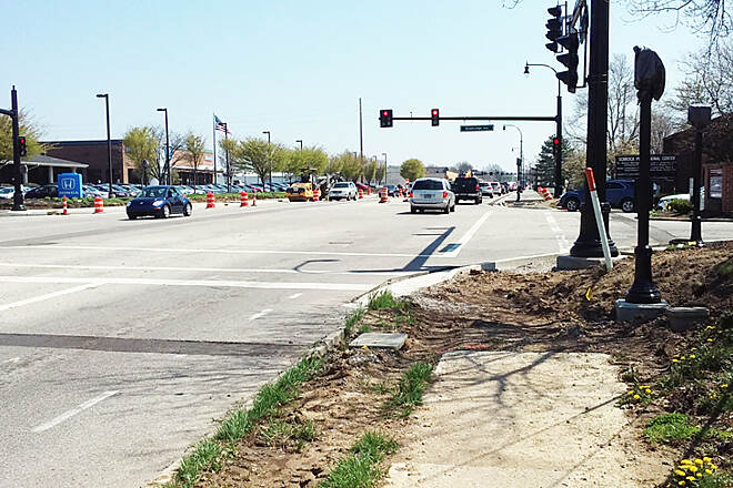 Ohio to Erie Trail Eastbound Apr 2017 Westerville, the intersection of W Schrock Rd and Charring Cross Dr/Brooksedge Blvd is still under construction, and rough and treacherous on both sides of the street