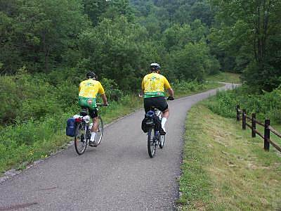 Oil Creek State Park Trail Riders wearing Sojourn jerseys Participants of the bike tour