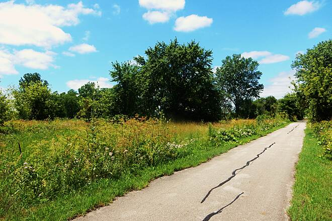 Old Plank Road Trail A lot of open ground. This part of the trail, Harlem eastward to the Metra Station has a good amount of open areas. Taken 7-14-17.