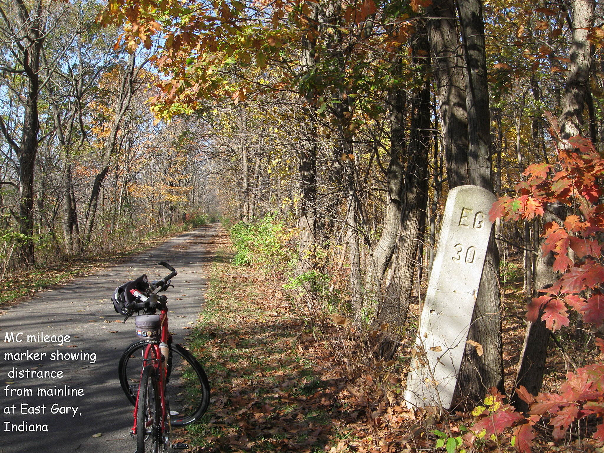 Old Plank Road Trail MC Milepost
