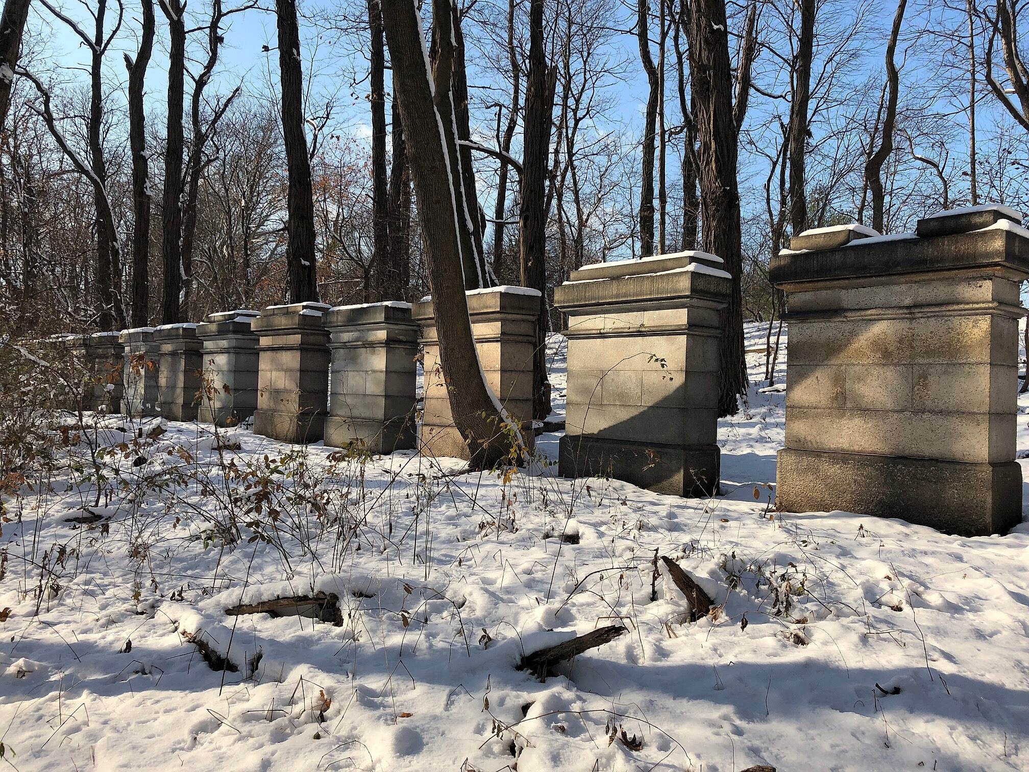 Old Putnam Trail Grand Central Stones Grand Central Stones in the snow.  December 2017