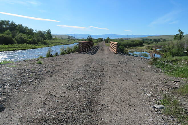Old Yellowstone Trail Still Under Construction Deck of bridge still needed.
