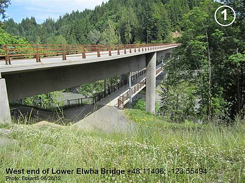Olympic Discovery Trail - Blyn to Elwha River Olympic Discovery Trail West Central - Lake and Foothills Section West end of double-decked bridge over the Elwha River