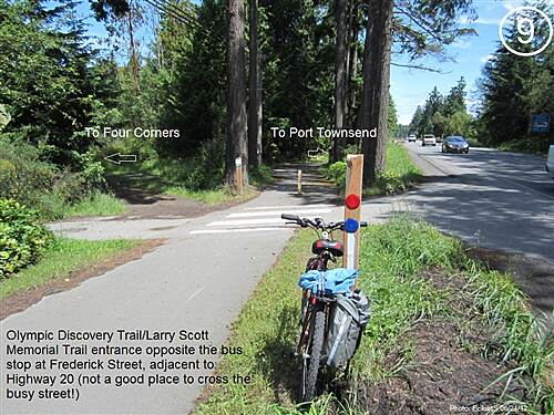 Olympic Discovery Trail East - Port Townsend Olympic Discovery Trail East - Sound and Bay Section Trail entrance for southbound trail