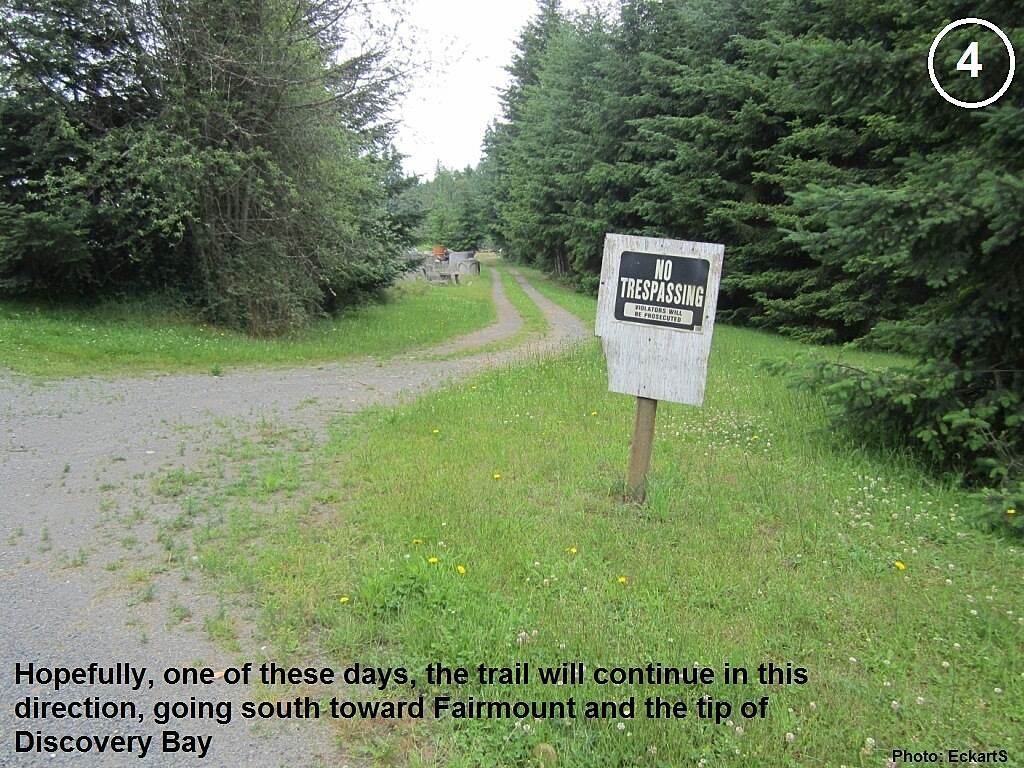 Olympic Discovery Trail East - Port Townsend Old railroad grade going south Hopefully, one of these days, the trail will continue in this direction, going south toward Fairmount and the tip of Discovery Bay