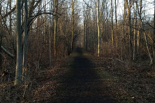Ontario Pathways Rail Trail Day Break in early April Clifton Springs Entrance.