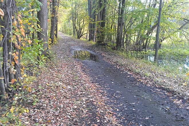 Oswego County Trail Pennellville Mud puddles the day after heavy rains.