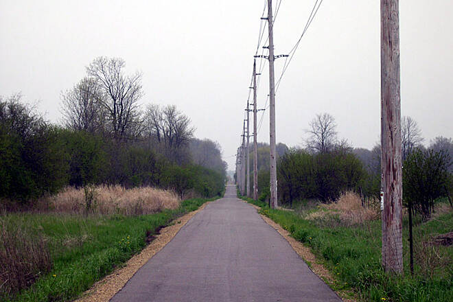 Ozaukee Interurban Trail Ozaukee Interurban Trail A chilly May morning north of Cedarburg, Wisconsin.