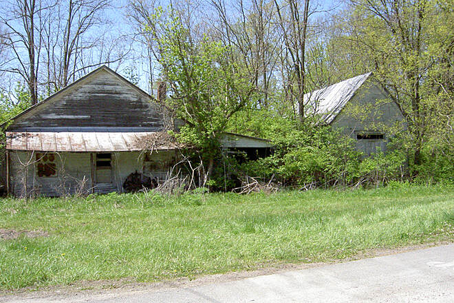 Paint Creek Recreational Trail Austin April 2015 Abandoned buildings at OH 138 and Austin Rd