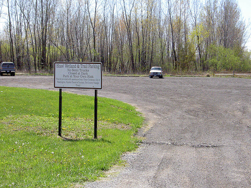 Paint Creek Recreational Trail Shaw Wetland parking April 201 Parking on Robinson Rd East of Washington Court House