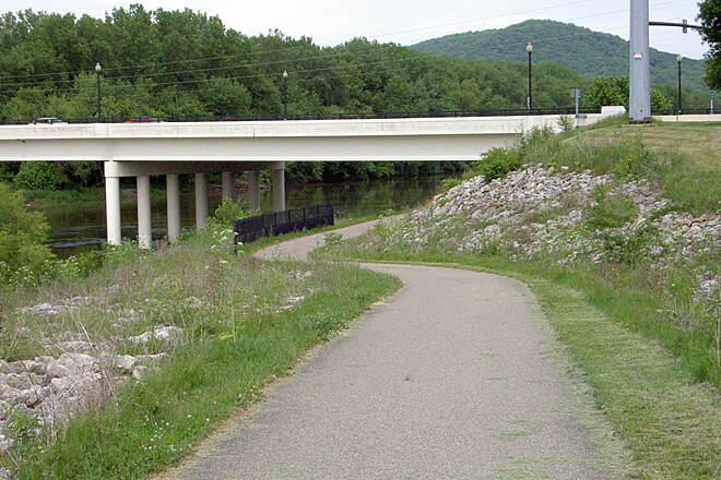 Paint Creek Recreational Trail Chillicothe May 2015 Eastbound trail under N Bridge St