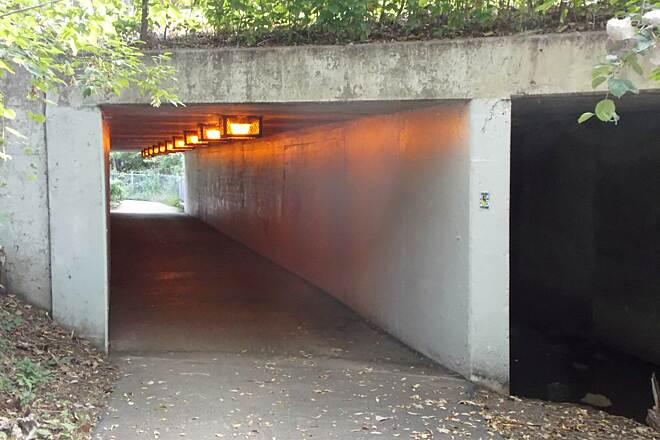 Palatine Trail Tunnel Under Hicks Road Safe passage below traffic on busy thoroughfare