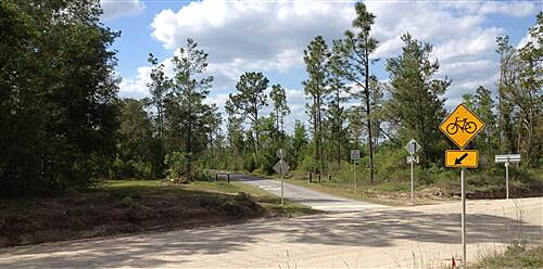 Palatka-Lake Butler State Trail End of pavement east of Florahome at Holloway Rd. As of April 2012 this is as far as the paved trail goes.