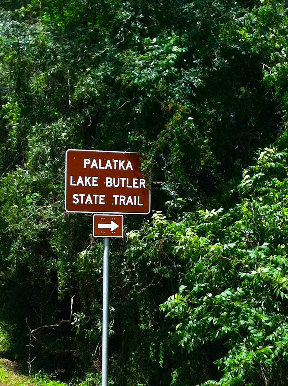 Palatka-Lake Butler State Trail Palatka-Lake Butler Trail the sign about 4 miles outside of Lake Butler where it currently ends. One day it will connect with the Palatka side.