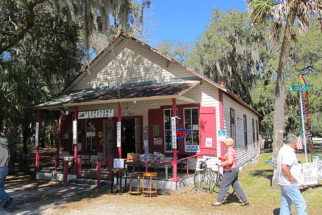 Palatka-to-Lake Butler State Trail Little store on the trail This store is at about the current halfway mark.  It has antiques and a limited supplies, but is a unique old building.  The operators seem to be real friends of the trail.