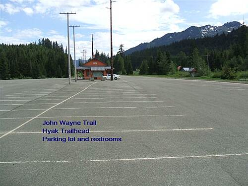Palouse to Cascades State Park Trail Iron Horse Trail Hyak Trailhead - vast parking lot and nice restrooms