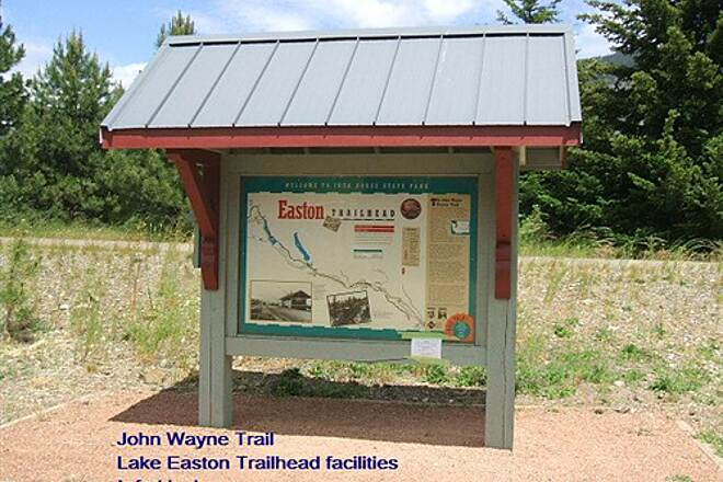 Palouse to Cascades State Park Trail John Wayne Trail Lake Easton Trailhead info kiosk