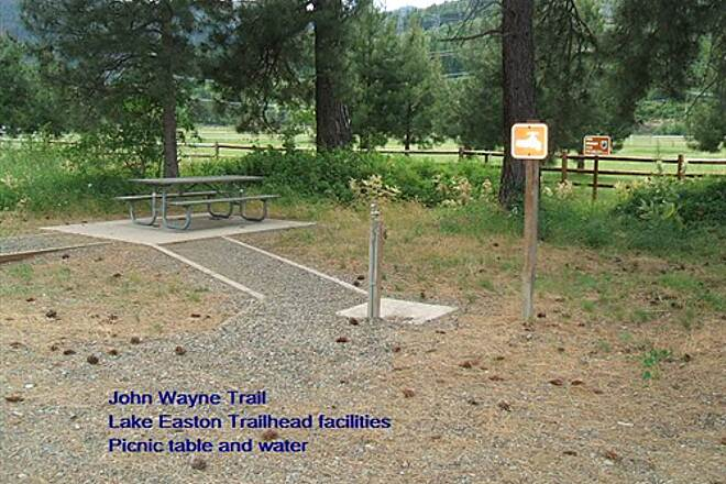 Palouse to Cascades State Park Trail John Wayne Trail Lake Easton Trailhead - water point and table