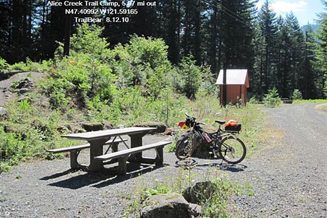 Palouse to Cascades State Park Trail JOHN WAYNE PIONEER TRAIL - Snoq. Pass Alice Creek Camp for bikers and hikers, $5