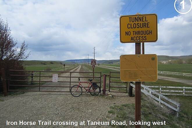 Palouse to Cascades State Park Trail Iron Horse Trail/Taneum Road Iron Horse Trail gate at Taneum Road. Photo: EckartS