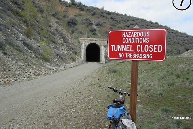Palouse to Cascades State Park Trail Tunnel 46 as of April 2013 As of April 2013, Tunnel 46 was still posted as NO TRESPASSING.  A few months later, Washington State Parks changed their policy. Photo [7]: EckartS