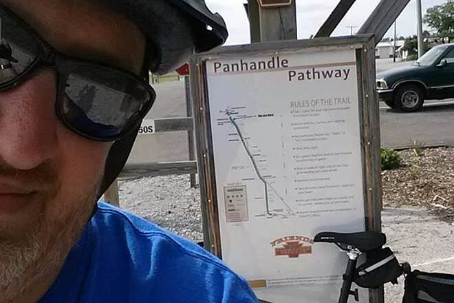 Panhandle Pathway Winimac Trailhead Picture of myself after completing the trail.
