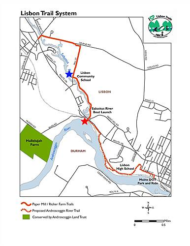 Papermill Trail Map and Parking Park at the stared locations