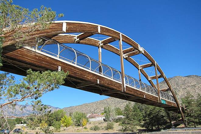 Paseo de las Montanas Trail Laminated Wood Overpass Photo provided by the City of Albuquerque.