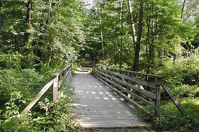 Patriots' Path (NJ) Patriots' Path Wooden bicycle & pedestrian bridge near Mendham Road in Morristown.
