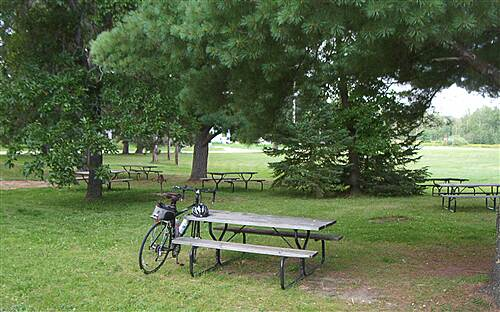 Paul Bunyan State Trail   Guthrie rest stop has what you need--parking, shade, porta potty.
