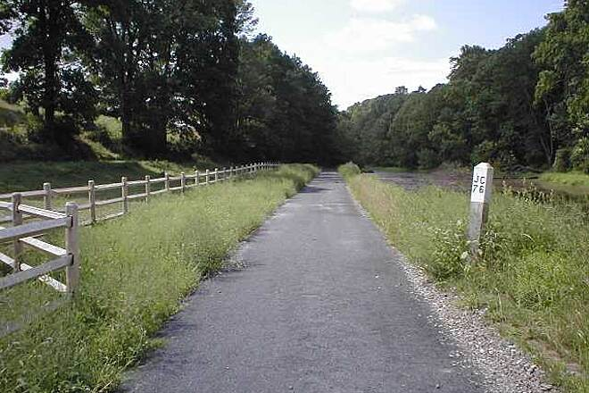 Paulinskill Valley Trail Paulinskill Valley Trail Improved trail surface near old railroad mile marker 76 (76 miles from Jersey City).