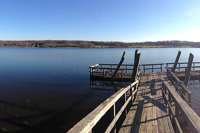Peace Valley Park Hike & Bike Trail Looking out at the lake Standing at the dock on the west side of the lake, looking out.