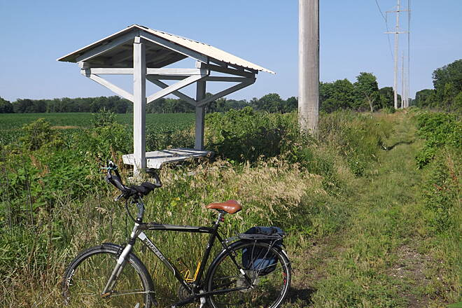Pecatonica Prairie Trail Abandoned Picnic Shelter It will be a great day when the path is once again maintained, and shelters like these will welcome cyclists.