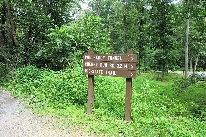 Penns Creek Path (Mid State Trail) Trail Sign.   Trail sign at the beginning of the trail, Tunnel Spur Road.... 1/2 mile from Poe Valley Campground.